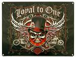 Harley Davidson Loyal To One Skull Tin Sign