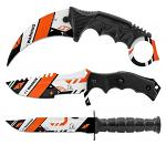3 - pc. Tactical, Hunting, and Karambit Knife Set Collection - KTM Orange White and Black