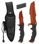 "12"" Hunting Knife and Survival Kit with Fire Starter and Sharpening Stone - Red"