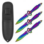 "8.13"" Punisher Skull Stainless Steel Throwing Knife Set - Titanium"