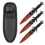 3 - pc. Throwing Knives Set with Nylon Carrying Sheath - Red