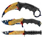 3 - pc. Tactical, Hunting, and Karambit Knife Set Collection - We the People American Flag