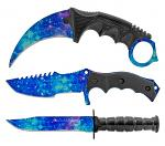 3 - pc. Tactical, Hunting, and Karambit Knife Set Collection - Blue