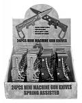 24 - pc. Mini Machine Gun Switchblade Knife Display Set