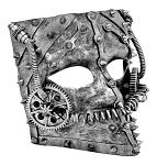 Steampunk Full Face Mask - Silver