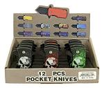 12 - pc. Folding Pocket Knife Countertop Display - Skull