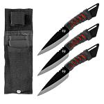 3 - pc. Ninja Throwing Knife Set - Red and Black