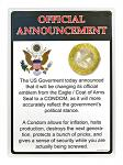 Government Offical Announcement Metal Sign