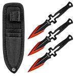 "6.13"" Cross Blade Throwing Knife Set - Red"