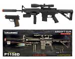 UK Arms P1158D AR15 Style M4 Carbine Sniper Airsoft Rifle with Spring 9mm Pistol