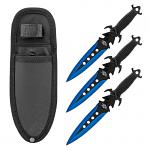 3 - pc. Throwing Knives Set with Nylon Carrying Sheath - Blue
