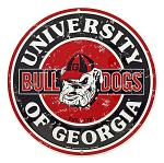 University of Georgia Bulldogs Logo Round Tin Metal Sign