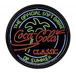 Round Coca Cola Neon Lights Metal Tin Wall Sign - Coke