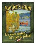 Angler's Club Fishing Metal Tin Sign