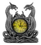 "11"" Dragonstar Clock with Dual Dragon Figurines - DWK"