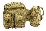 Rock Climbing Trail Hiking Tactical Specific Waist Hip Bag with Water Carrier - Desert Digital Tan Camo