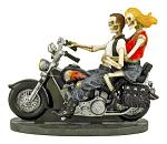 Love Never Dies Skeleton Couple Motorcycle Statue Figurine