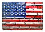 American Flag Brick Wall Metal Sign
