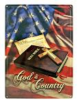 God and Country Metal Sign