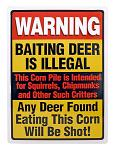 Baiting Deer is Illegal Hunting Metal Sign