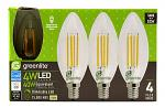 4 pk. B10 Chandelier LED Light Bulbs - 330 Lumens - 27000K