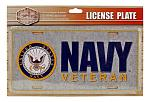 United States Navy Veteran Metal Front License Plate