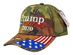 12 - pc. Trump 2020 with Flag Adjustable Camo Baseball Cap Hat