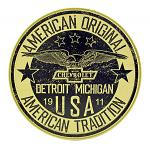 American Original Chevrolet Detroit Michigan - Round Tin Metal Car Sign