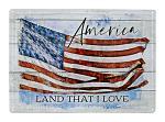 America Land That I Love American Flag Tin Metal Wall Sign