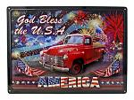 God Bless the USA America 4th of July Vintage Pickup Truck Tin Metal Wall Sign