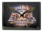 America is Diesel Powered Big Mac Trucker Bald Eagle Tin Metal Wall Sign