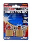 2 pc. Protouch Weather Proof Brass Padlocks with Two Key Set