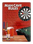Man Cave Rules Tin Metal Sign
