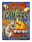 Happy Campers Live Here Tin Metal Sign