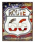 America's Mother Road Route 66 Tin Metal Sign