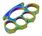 Brass Knuckle Styled Belt Buckle Knuckle Duster with Prong Attachment - Titanium