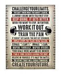 Challenge Your Limits Work Out Weight Lifting Metal Tin Sign