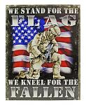 Stand for the Flag, We Kneel for the Fallen US Military KIA American Flag Metal Tin Sign