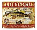 Bait and Tackle Free Worms and Coffee Fishing Metal Tin Sign