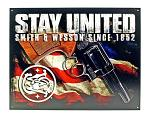 Stay United American Patriot Smith and Wesson United States of America Flag Metal Tin Sign