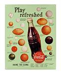 Play Refreshed Vintage Style Coca-Cola Baseball Football Metal Tin Sign