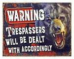 Warning Trespassers - Tin Sign