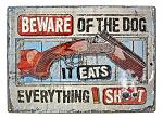 Beware of the Dog Warning Tin Metal Sign