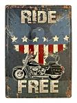 Ride Free Motorcycle Cruiser American Eagle Tin Metal Sign
