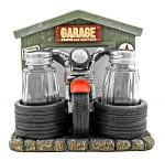 "6.13"" Cycle Service Vintage Motorcycle Garage Napkin, Salt and Pepper Shaker Holder - DWK"