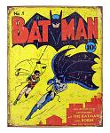 Batman Issue #1 Metal Tin Sign - Vintage 1940 DC Comics Batman and Robin First Appearance
