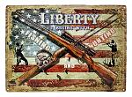 Liberty Begins with Fishing and Hunting - American Heritage Metal Tin Sign