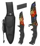 "12"" Hunting Knife and Survival Kit with Fire Starter and Sharpening Stone - Starry Sky"