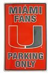 Miami Hurricane Fans Parking Only Tin Sign