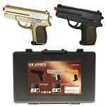 Dual P.618 Spring Airsoft Hand Guns - Gold & Black